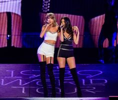 """Bestie Gomez took the stage in a pair of Swift-esque hotpants for the debut live performance of her new single """"Good For You,"""" which Swift called """"the song of the summer."""" (TIME, """"Watch Justin Timberlake and Selena Gomez Grace Taylor Swift's Stage"""") Concert Taylor Swift, Show Da Taylor Swift, Taylor Swift Moda, Style Taylor Swift, Selena And Taylor, Taylor Swift Pictures, Justin Timberlake, Justin Bieber, Selena Gomez Fotos"""
