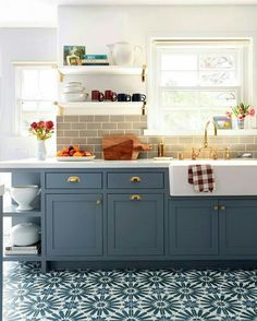 The cabinets. The floor tile.