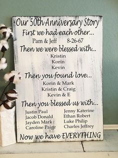 Anniversary Gift for Grandparents Family Story Sign 50 Wedding Anniversary Gifts, Anniversary Gifts For Parents, Golden Anniversary, Boyfriend Anniversary Gifts, Anniversary Parties, Anniversary Ideas, Anniversary Sayings, Anniversary Centerpieces, Wedding Gifts