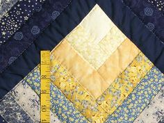 Navy and Yellow Chevron Log Cabin Quilt Photo 5