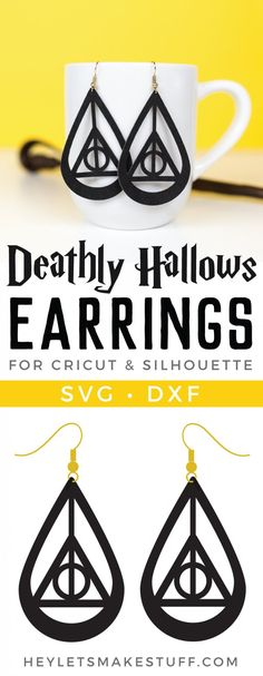 Channel your inner wizard with these Harry Potter Deathly Hallows Earrings crea – DIY Schmuck Ringe Harry Potter Diy, Bijoux Harry Potter, Harry Potter Earrings, Harry Potter Deathly Hallows, Diy Leather Earrings, Gold Bar Earrings, Diy Earrings, Leather Jewelry, Diamond Earrings
