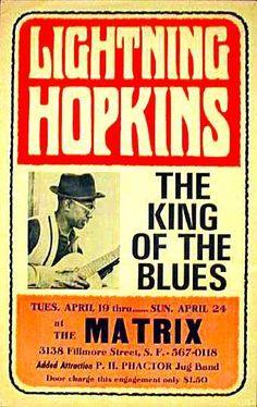 Texas bluesman Lightnin' Hopkins plays the Matrix in San Francisco, 1966.