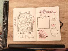 February bullet journal #february #bulletjournal #monthlyspread #moodtracker