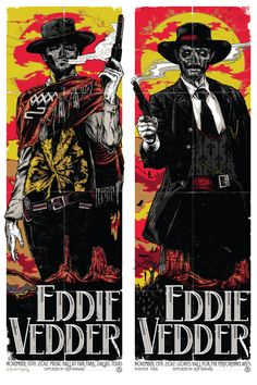 """EDDIE VEDDER POSTERS - Dallas & Houston, Texas 2012 - """"The Good & The Bad"""" set by Rhys Cooper"""