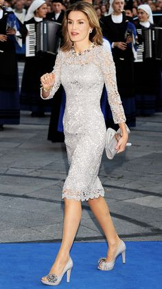 Princess Letizia opts for a matching pale gray ensemble to attend the 2008 Prince of Asturias Awards ceremony in Oviedo, Spain.