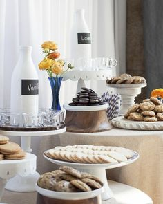 A milk-and-cookie bar for a baby shower