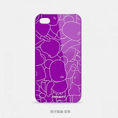 Lovely Bears Hard Back Case Cover for Apple iPhone 4 4S Purple