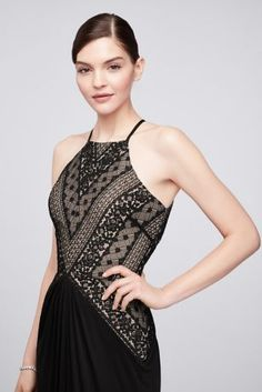 b54023ac71 Geometric Lace and Mesh Halter Gown ZP281763 Truly Zac Posen