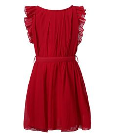 Take a look at this Burgundy Pleated Angel-Sleeve Dress - Toddler & Girls today!