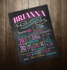 CUSTOMIZABLE First Birthday Chalkboard Poster Sign Printable - DIgital File JPG - Babys First Birthday via Etsy