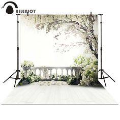 Allenjoy Photography Backdrop wedding balcony garden loft trees white flowers background props photocall photobooth Photo studio