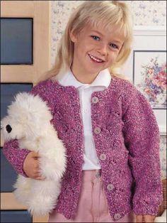 Pretty in Pink little girl's cardigan free knitting pattern