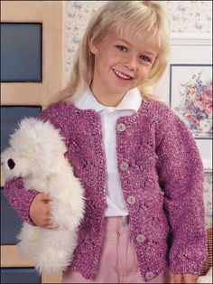 Pretty in Pink little girl's cardigan free knitting pattern