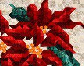 Poinsettia Quilt Patterns - Mosaic Christmas Quilt Pattern