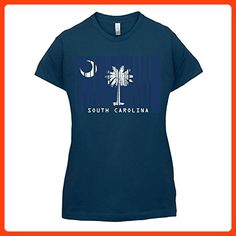 South Carolina / Süd-Carolina Barcode Flagge - Damen T-Shirt - Navy - L (*Partner Link)