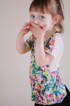 Adorable Floral and Lace Kid's Tee --- Sewing Pattern available from @Lauren Dahl / PATTERN WORKSHOP #sew #sewingpattern