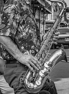 Sax Man - Bw.  Part of Doreen's Jazz New Orleans jazz group, the sax man plays as brilliantly as his shirt. B&W version.