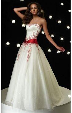 505a05c079c Organza Liebsten Belt Bodenlang Standesamtkleid Hochzeitskleid Rot Weiß