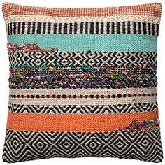 "Urban Boho Multicolor Crazy Quilt 22"" Square Accent Pillow"