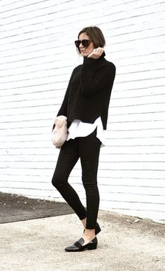Black + white style | black skinny jeans, patent black leather loafers, white…