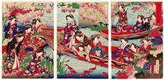 Lotto 00776 N.1 trittico di xilografie ukiyo-e Toyohara Chikanobu IMPERATRICE E DAME DI CORTE Periodo: anni 1890 Condizioni: ottime Dimensioni: 73 x 36,5 cm