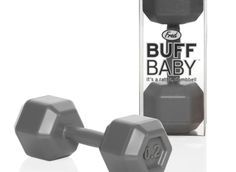 A baby rattle that looks like a dumbbell