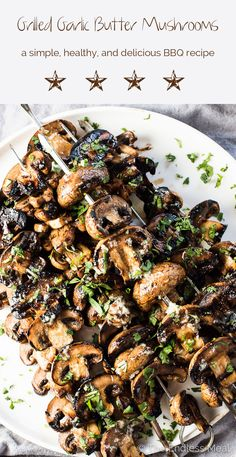 Grilled Garlic Butter Mushrooms are a super easy to make, healthy, and delicious summer BBQ recipe. They make the perfect side dish recipe or vegan main. Make them paleo + with a simple substi (Easy Grilling Recipes) Grilling Recipes, Vegetarian Recipes, Cooking Recipes, Healthy Recipes, Healthy Grilling, Vegetarian Grilling, Barbecue Recipes, Barbecue Sauce, Easy Bbq Recipes
