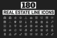 Ad: 180 Real Estate Icons by FlatLineIcons on 180 Real Estate - Landmark - Construction - Tools - Thin Line Icons Designed using grid system, available in 6 file types (AI, EPS, PSD, Real Estate Icons, Find Icons, Property Buyers, Building Layout, Construction Services, Thin Line, Grid System, Script Type