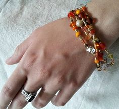 Orange and Gold Charm Macrame Beaded Bracelet by DeadSerious2010