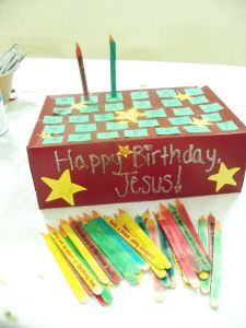 """Happy Birthday Jesus Advent activity. Add a """"candle"""" (popsicle stick) to the """"birthday cake"""" each day and each """"candle"""" has a different verse and activity on it...doing this next year!!! :)"""