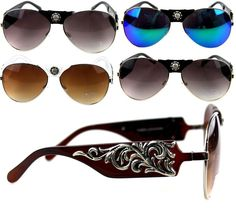 Montana West Concho Collection Western Aviator Sunglasses Hard Case and Cloth Polarized Aviator Sunglasses, Unique Purses, Shoulder Handbags, Leather Purses, Montana, Bling Bling, Fashion Eyewear, Clearance Sale, Collection