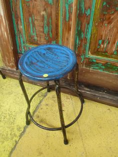 Bali Furniture Recycled Metal Rustic Vintage Stool Chair Seat Low Small