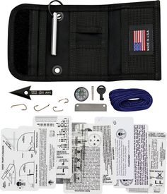 Survival Kit by ESEE.  Maybe a premade one might be easier. If it has room for some extra stuff.