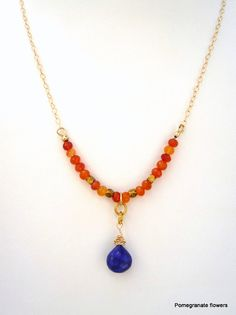 Carnelian, Lapis Lazuli, Gold Filled chain necklace.