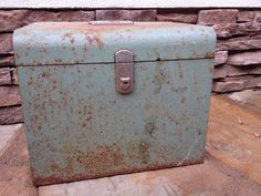 Large Vintage Green Rusty box by Eagle Lock Co.