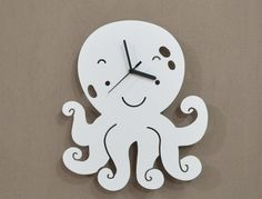 Octopus Kids Cartoon Silhouette  Wall Clock by SolPixieDust