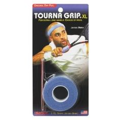 The Tourna Grip Overgrip, available in blue only. Wraps over your existing grip for maximum  sweat absorption