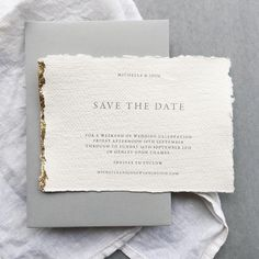 A set of gorgeous Save the Dates sent out recently - on beautifully textured cotton rag paper with hand-applied gold leaf edging paired with a luxe grey envelope for contrast. Wedding Paper, Wedding Cards, Our Wedding, Green Wedding, Trendy Wedding, Elegant Wedding, Invitation Design, Invitation Cards, Invites