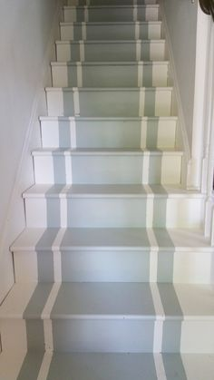 Cindys fractured fairy tale: Carpet Begone -The Third Attack on the Carpet ! Painted Staircases, Painted Stairs, Painted Floors, Foyers, Staircase Makeover, Basement Stairs, Interior Stairs, Basement Renovations, Staircase Design