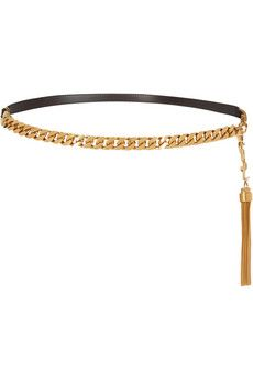 Saint Laurent Leather and chain belt | NET-A-PORTER