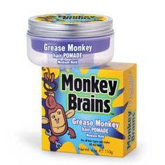 Monkey Brains CERA MONKEY B GREASE HAIR POMADE 110GR Cera para crear un estilo deportivo de alto brillo y loco, no engrasa el cabello. Hair Pomade, Grease, Coffee Cans, Coconut Oil, Drinks, Sporty Style, Sparkle, Wax, Health And Wellness