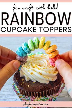 Not only are these rainbow cupcake toppers simple and inexpensive party decorations that pack a punch. They're also fun for kids to both make and eat! Rainbow Cupcakes, Rainbow Food, Kid Cupcakes, Summer Pie, Party Food Platters, Easy Party Food, Savoury Cake, Craft Party, Snack Recipes