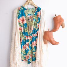 Floral Romper Fringe Cardigan Booties online at shopbelleboutique.com