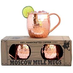Morken Barware Moscow Mule Mugs 16 oz - Set of 2 - 100% Solid Copper