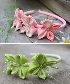 Headband girls Color Options Green baby Hair Bows Kanzashi Accessory Photo prop…                                                                                                                                                                                 Más