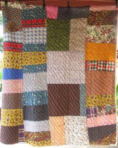 African American Feedsack Primitive Antique Vintage Quilt - Beautiful. $487.00, via Etsy.