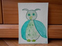 Green monochrome art  Cute owl watercolor by CuteCreationsByLea, $8.00