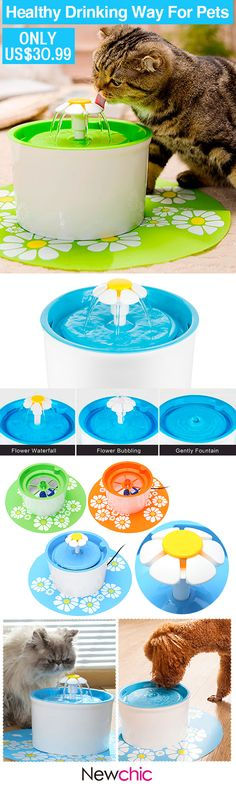 US$30.99 Cute Flower Cat Automatic Fountain Pet Water Dispenser Pet Health Care Fountain for Cat and Puppy#newchic#pet