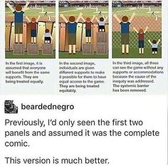 equality & equity with & without systemic barrier. But why was barrier there in first place? To charge money to see the game. The More You Know, Good To Know, Faith In Humanity Restored, Tumblr Stuff, Social Issues, Thought Provoking, Reality Check, In This World, Fun Facts