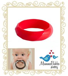 Mumma Bubba Teething Bangle Bushfire Red MummaBubba's Jewellery offers the ideal combination of form and function, so mum can sit back and relax in the latest fashion accessories with the peace of mind that they are providing safe, much needed relief to tender little gums. MummaBubba Teething Jewellery is made from hospital grade silicone (also known as Organic Silicone) that is free from BPA, PVC, cadmium and lead.  $14.95